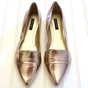 ASOS Shoemint Kali rose gold pointed toe loafers
